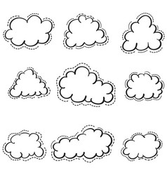 Doodle of cloud set weather vector