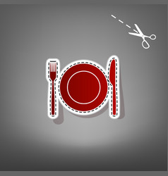 Fork knife and plate sign red icon with vector