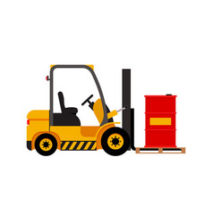 forklift truck with lifted red barrel vector image vector image