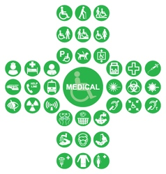 Green Medical and health care Icon collection vector image