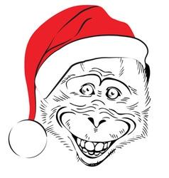 Head cheerful monkey vector
