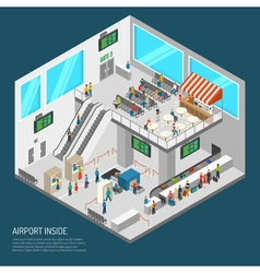 Inside airport isometric poster vector