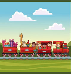 Kids on train over landscape vector