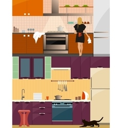 Kitchen interior with furniture in flat style vector image vector image