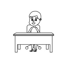 Line boy student sitting in the wood desk vector