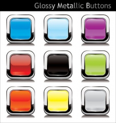 metallic buttons vector image vector image