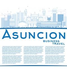 Outline asuncion skyline with blue buildings vector