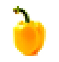 pixel yellow bell pepper vector image vector image