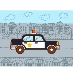 Police car in the city vector