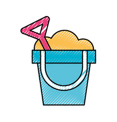 Sand bucket beach toy vector