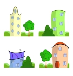 Set of cartoon houses vector image vector image