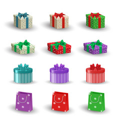 set of realistic christmas gifts vector image