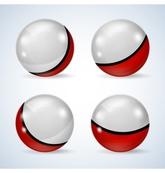 Set of red and white glossy balls vector image vector image
