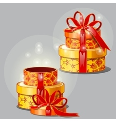 Shining elegant gift box on a gray background vector image