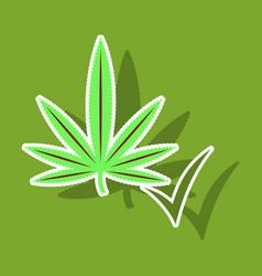 sticker hand drawn color botanical of hemp vector image