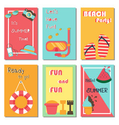 summer holiday vacation collection poster set vector image vector image