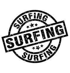 Surfing round grunge black stamp vector