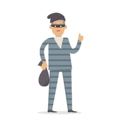 Thief with Bag of Money in Black Mask Isolated vector image
