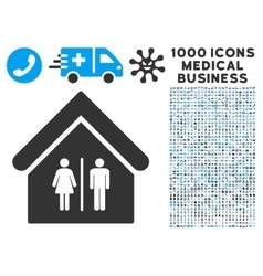 Toilet building icon with 1000 medical business vector