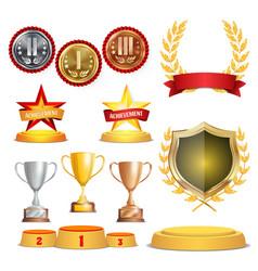 trophy awards cups golden laurel wreath with red vector image vector image