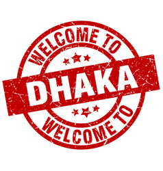 Welcome to dhaka red stamp vector