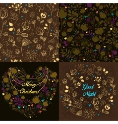 Brown festive cards with floral patterns vector