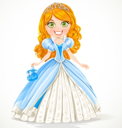 Beautiful red-haired princess in a blue ball gown vector