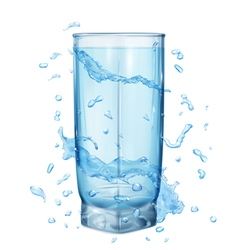 Glass with water splashes vector
