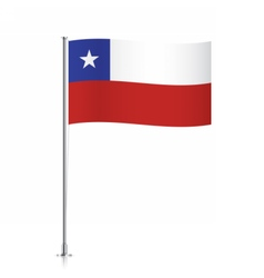 Chile flag waving on a metallic pole vector