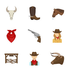 A set of pictures about cowboys cowboys on the vector