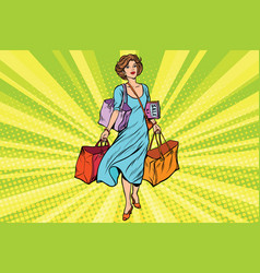 Woman with empty shopping bags vector