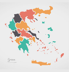 Greece map with states and modern round shapes vector