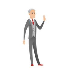 Caucasian businessman showing victory gesture vector