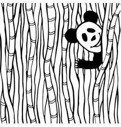 funny panda in the bamboo forest coloring book vector image