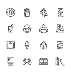 Causes of childhood obesity line icons set vector