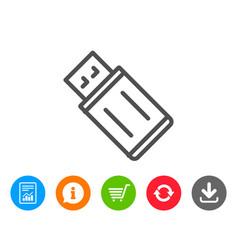 Usb flash drive line icon memory stick sign vector
