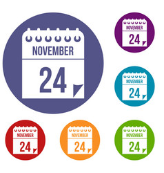 24 november calendar icons set vector