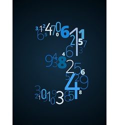Number 3 font from numbers vector