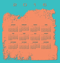 2016 Rough Texture calendar vector image