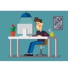 man and pc in office vector image