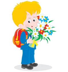 Schoolboy with flowers vector