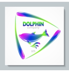 Luxury image logo rainbow dolphin to design vector