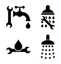 Plumbing tools flat icons vector