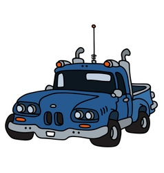 Funny old blue pick-up vector