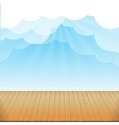 Brown wood floor texture and blue sky sunburst vector image