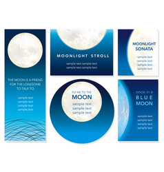 a moonlight message card set vector image vector image