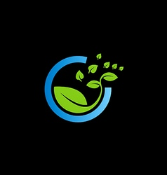 Bio green leaf botany logo vector