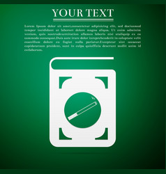 Book icon with cigarette flat icon on green vector