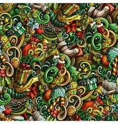 Cartoon cute doodles new year seamless pattern vector