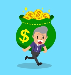 Cartoon senior man carrying big money bag vector